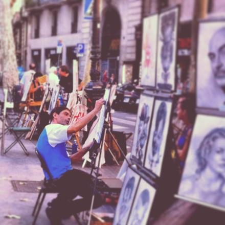 Street artist, Las Ramblas #Barchalona